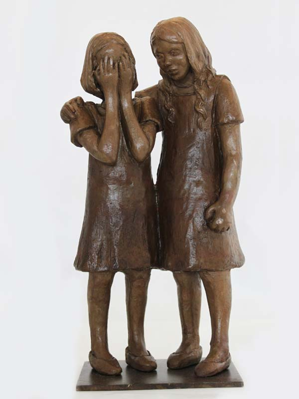Sculpture bronze compassion d'enfant